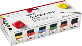 Kreul 79600 - Acryl Glanzfarben im Set, glänzend-glatte Acrylfarbe zum Anmalen und Basteln, auf Wasserbasis, speichelecht, schnelltrocknend und deckend, 6 x 20 ml Farbe und ein Pinsel
