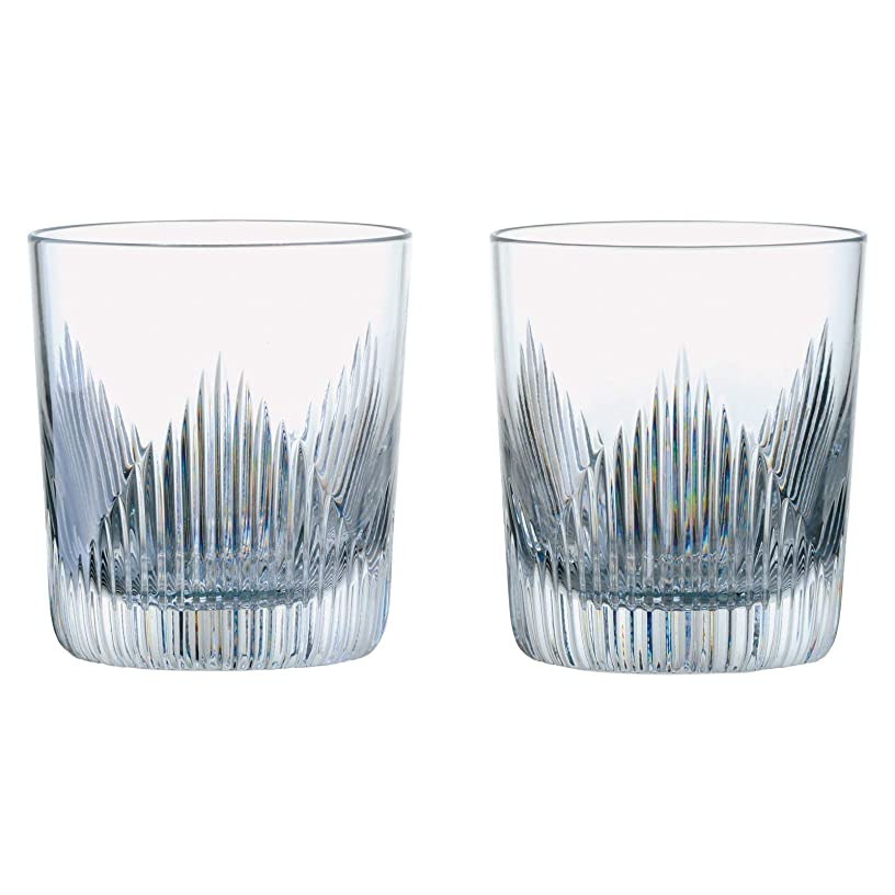 Anton Studio Shard Design Double Old Fashioned Glass Tumblers 10fl oz Set of 2