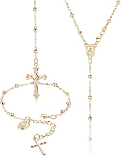 Subiceto Rosary Bead Necklace Bracelet for Women Girls Virgin Mary Medal Cross Crucifix Pendant Charm Link Chain Bracelet Y Necklace