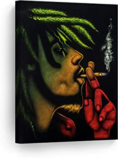 SmileArtDesign Smoke Wall Art Canvas Print Bob Marley Smoking a Joint Get High on Weed Home Decor Artwork Living Room Office Decor Ready to Hang - Made in The USA - 12x8