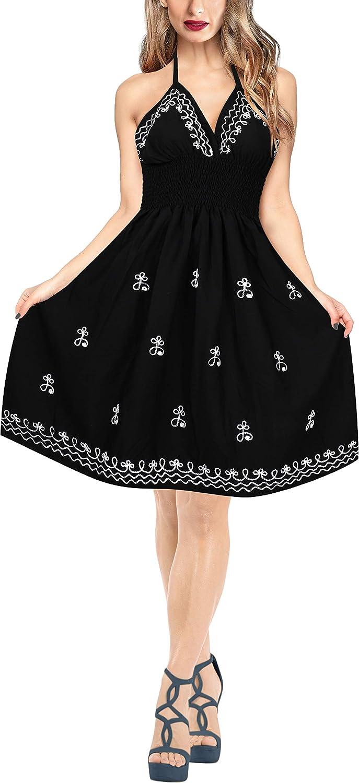 LA LEELA Women's Plus Size Beach Dress Swing Tube Sundress Beachwear Embroidered