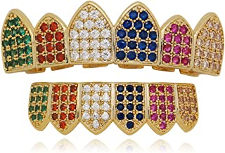 Rainbow Pave Full CZ Grillz 6 Teeth Top and Bottom Set Grills + Extra 2 Molding Bars