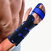 Bort Soft Hand Splint Brace with Finger Support Carpal Tunnel Night Wrist Splint Support Immobilizer Finger Wrist Fracture, Scaffold Pain Tendonitis Sprain- Small, Right, Blue, 5.9