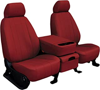Rear SEAT: ShearComfort Custom Imitation Leather Seat Covers for Chevy Silverado (2007-2013) in Red for 60/40 Split Back and Bottom w/Adjustable Headrests and Seatbelt in Backrest (Extended Cab)