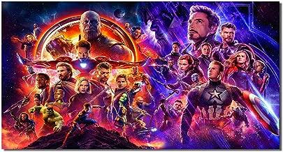Picture Sensations® Framed Canvas Art Print, Avengers Endgame Infinity War Iron Man Hulk Thor Captain America Thanos Carol Danvers Black Widow Nebula Hawkeye - 36