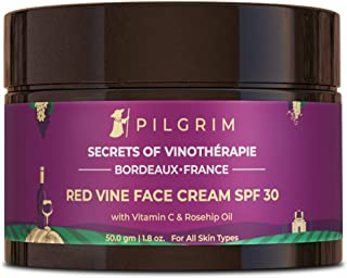 Pilgrim Red Vine Face Cream with SPF 30 Sunscreen, Rosehip Oil & Vit C For Anti Ageing, Sun Protection, Daily Use, Dry, Oi...