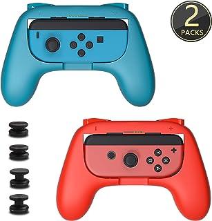 スイッチ ジョイコン ハンドル [2個セット] Switch コントローラー グリップ 素早く反応 寸法最適 Anikks 任天堂 Joy Con 専用 レッド ブルー