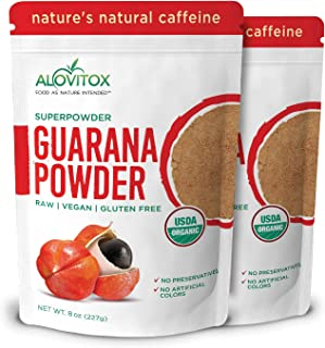 Organic Guarana Seed Powder by Alovitox (16 Oz) | Raw, Vegan, Gluten Free Super Food Supplement | Naturally High in Energy Boosting Caffeine | Low Calorie Addition to Health Shakes, Smoothies & Drinks