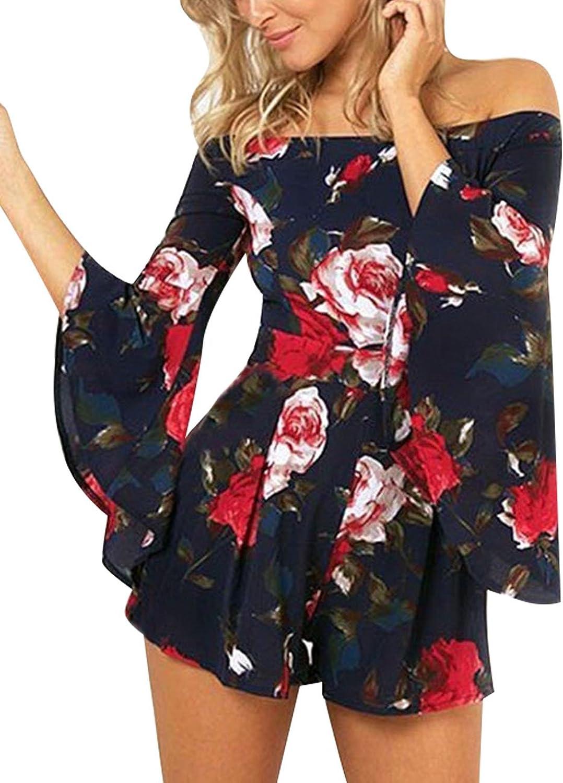 Assivia Women's Floral Print Off shoulder 3 4 Sleeves Jumpsuit Rompers Playsuits