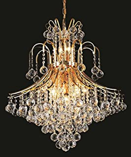 Elegant Lighting 8003D25G/RC Royal Cut Clear Crystal Toureg 15-Light, Two-Tier Crystal Chandelier, Finished in Gold with Clear Crystals