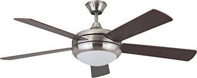 """Amazon Brand – Stone & Beam Remote-Controlled 5-Blade Ceiling Fan with Light, 52"""" Diameter, Brushed Nickel"""