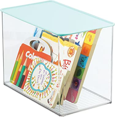mDesign Stackable Closet Plastic Storage Bin Box with Attached Hinged Lid - for Organizing Baby/Child's/Kids Toys, Action