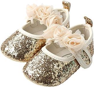 NUOBESTY Suola Morbida di Balletto per neonata da 11 cm con Scarpe da Ballo di Prua per Bambini (Dorato)