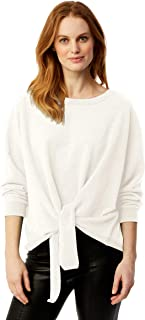 Women's French Terry Tie Front Oversized Sweatshirt