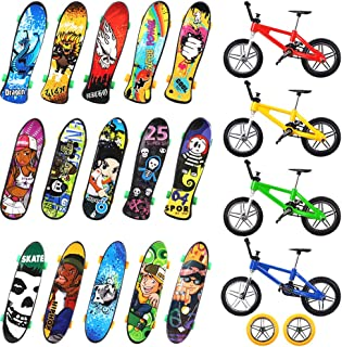 VANKERTER 24 Pcs Mini Finger Skateboards and Bikes, 18 Pcs Fingerboards and 6 Pcs Finger Bikes Finger Toys with Replacement Wheels and Tools for Kids as Party Favors or Gifts