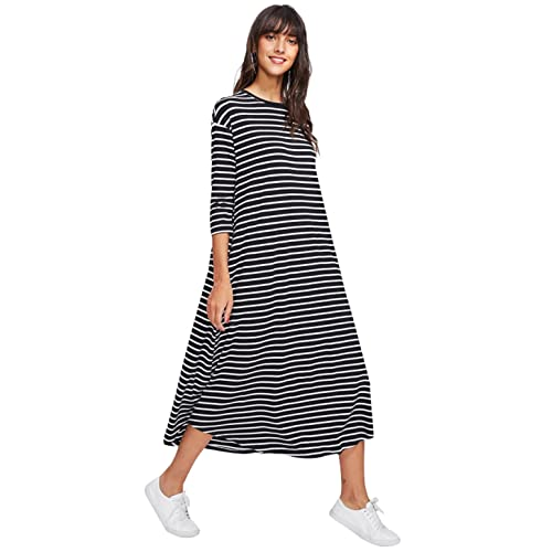 13d7e8286e23 SheIn Women's Loose Fit Casual Round Neck 3/4 Sleeve Striped Midi Dress