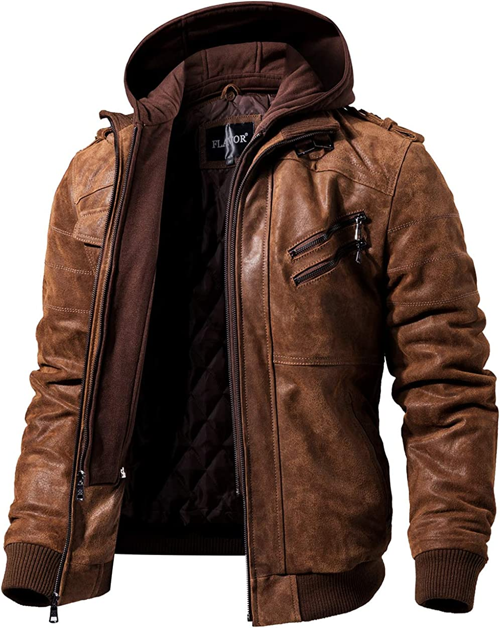 Mens Dark brown Leather Motorcycle Jacket with Removable Hood