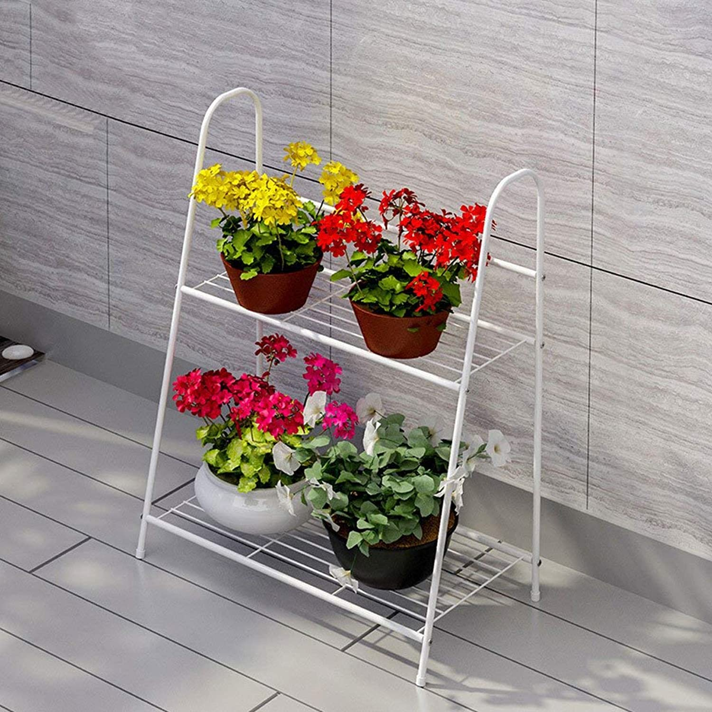 Shiyanghang Outdoor Indoor Display Plant Stand Flower Shelf Metal Multicolor Assembly Pot Rack, Multi-Functional Metal Frame Living Room Decoration (color   White)