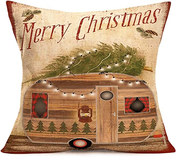 Doitely Merry Christmas Travel Camper Xmas Gifts Cotton Linen Square Decorative Home Indoor Vintage Throw Pillow Case Cushion Cover 18 X18
