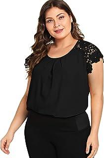 Romwe Women's Plus Size Short Sleeve Lace Hollow Round Neck Elegant Blouse