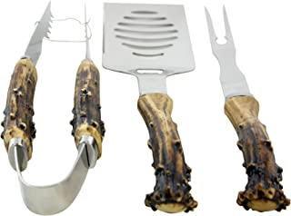 Pine Ridge Antler Handle Grilling Set for BBQ Outdoors Style Cooking and Grill, 3 Piece (Renewed)