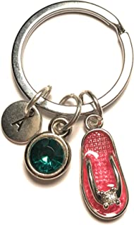 Flip Flop Keychain Silver Charm Pendant Keyring Initial Letter Birthstone Customized Gift
