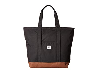 Herschel Supply Co. Bamfield Mid-Volume (Black/Saddle Brown) Tote Handbags