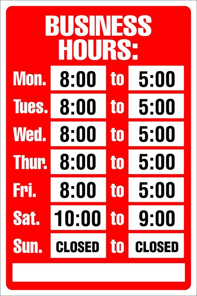 Cosco Sign Kit, Business Hours, 8 x 12 Inches (098071): Office Products
