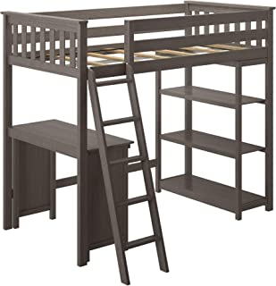 Max & Lily 186218-151 Solid Wood Twin-Size High Loft Bed with Bookcase + Desk, Clay