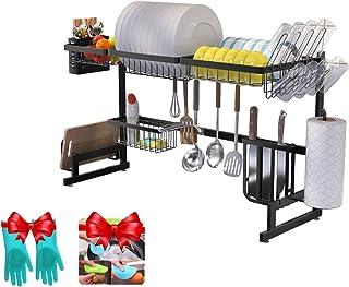 Amaze - Estante de almacenamiento para platos de cocina sobre fregadero acero inoxidable estante para almacenamiento en ...