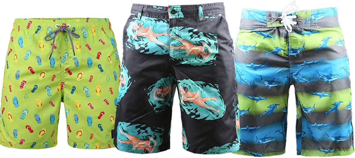 Beautiful Giant Manufacturer OFFicial shop 3 Pack Men's cheap Board Shorts Vacation with Pockets