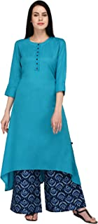 Pistaa's Women's Viscose Turquoise High Low Kurta With Printed Palazzo set