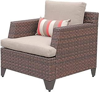 SUNSITT Outdoor Wicker Chair Single Sofa Patio Garden Furniture Armchair with Beige Olefin Cushions, Brown