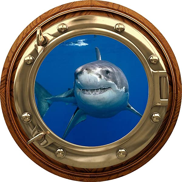 12 Porthole 3D Window Wall Decal Sticker Shark 1 BRASSWOOD Port Scape Great White Ocean Sea Fish Removable Vinyl Kids Room Decor