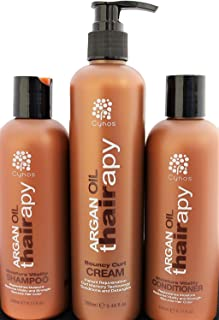 Thairapy Pure Moroccan Argan Oil Wash & Go Bundle-Shampoo, Conditioner, and Bouncy Curl Cream