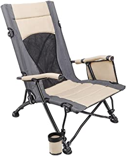 Sponsored Ad - XGEAR Low Seat Beach Chair High Back Mesh Back Beach Chair for Fishing Camping