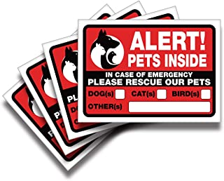 iSYFIX Alert Pets Inside Signs Stickers – 4 Pack 7x5 Inch – Premium Self-Adhesive Vinyl, Laminated for Ultimate UV, Weathe...