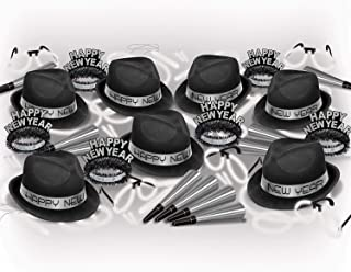 New Year Party Kit Black and Silver Assorted Pack for 50