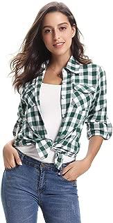 Women's Roll up Long Sleeve Button Down Casual Boyfriend Plaid Flannel Shirt(S-XXL)