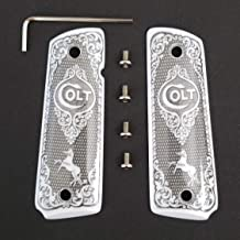 Tek_Tactical 1911 Grips Colt 1911 Full Size Grips Ivory Colt Checkered Grips W Ambi Cut