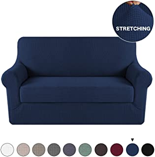 2 Piece Navy Sofa Slipcover Stretch Loveseat Slipcover Furniture Protector Sofa Cover, Spandex Stretch Fabric Super Soft Sofa Covers Anti-Slip Couch Slipcover Highly Fitness (Loveseat, Navy)