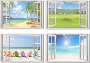 4Pcs x Poster Window View Office Room Wall Decoration Outdoor Sky Lake Sandy Beach Sea Coconut Tree Modern Art For Home Room Office Wall Decor Big 35.5x23.5 inch(90x60cm) (1-4)