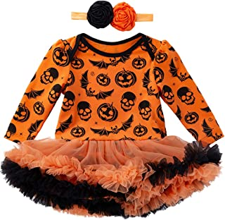 Minseng Direct Pumpkin Costume Baby Girls Halloween Bodysuit Newborn Funny Tutu Lace Skirt