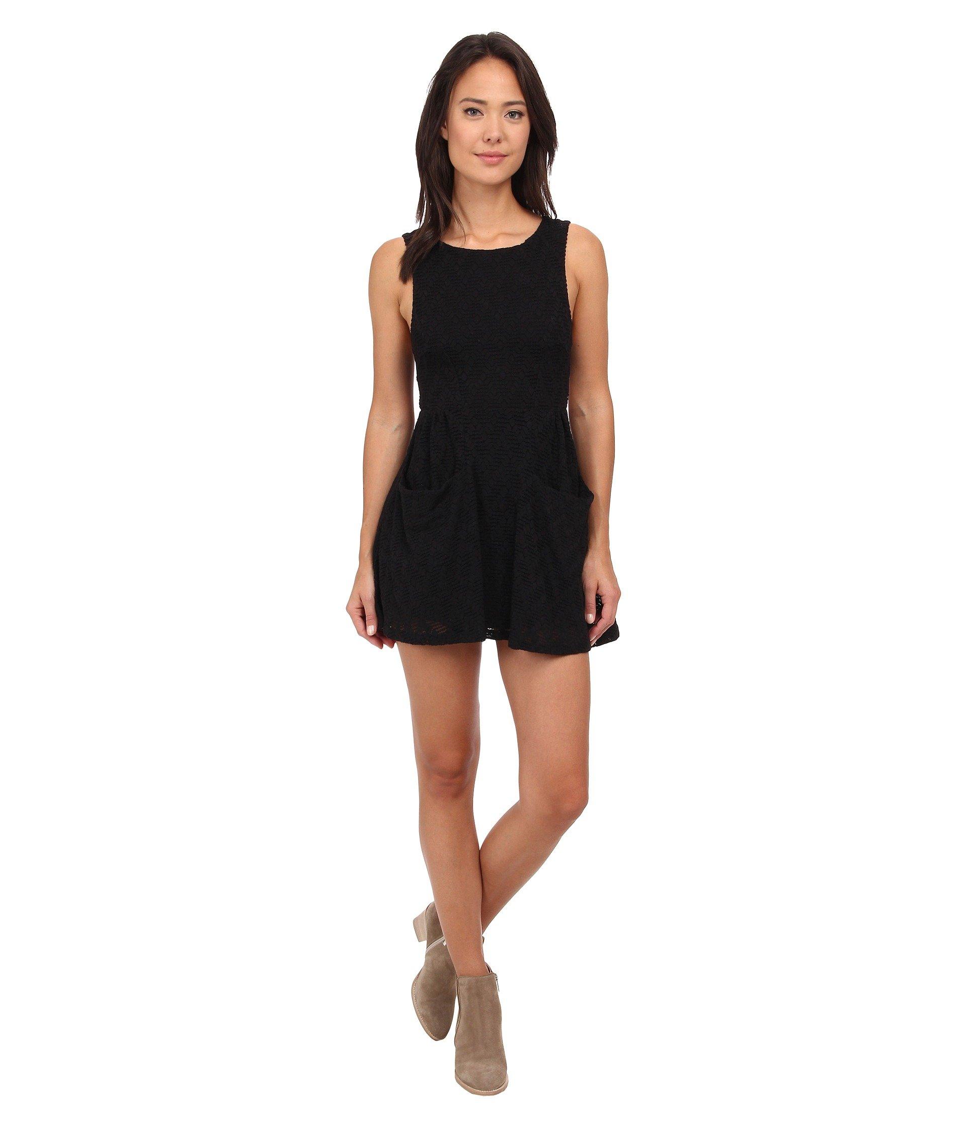 458cc6f556f3 Free People Textured Lace Poppy Mini Knit Dress In Black