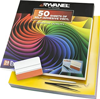 RYVANEL® Pack 55 - 50 feuilles en Vinyle Auto-Adhésif (12''x 12'') +5 Feuilles de Transfert+Ensemble complet d'outils de D...