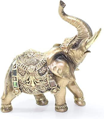 "Feng Shui 7""(H) Brass Color Elegant Elephant Trunk Statue Wealth Lucky Figurine Home Decor Gift US Seller"