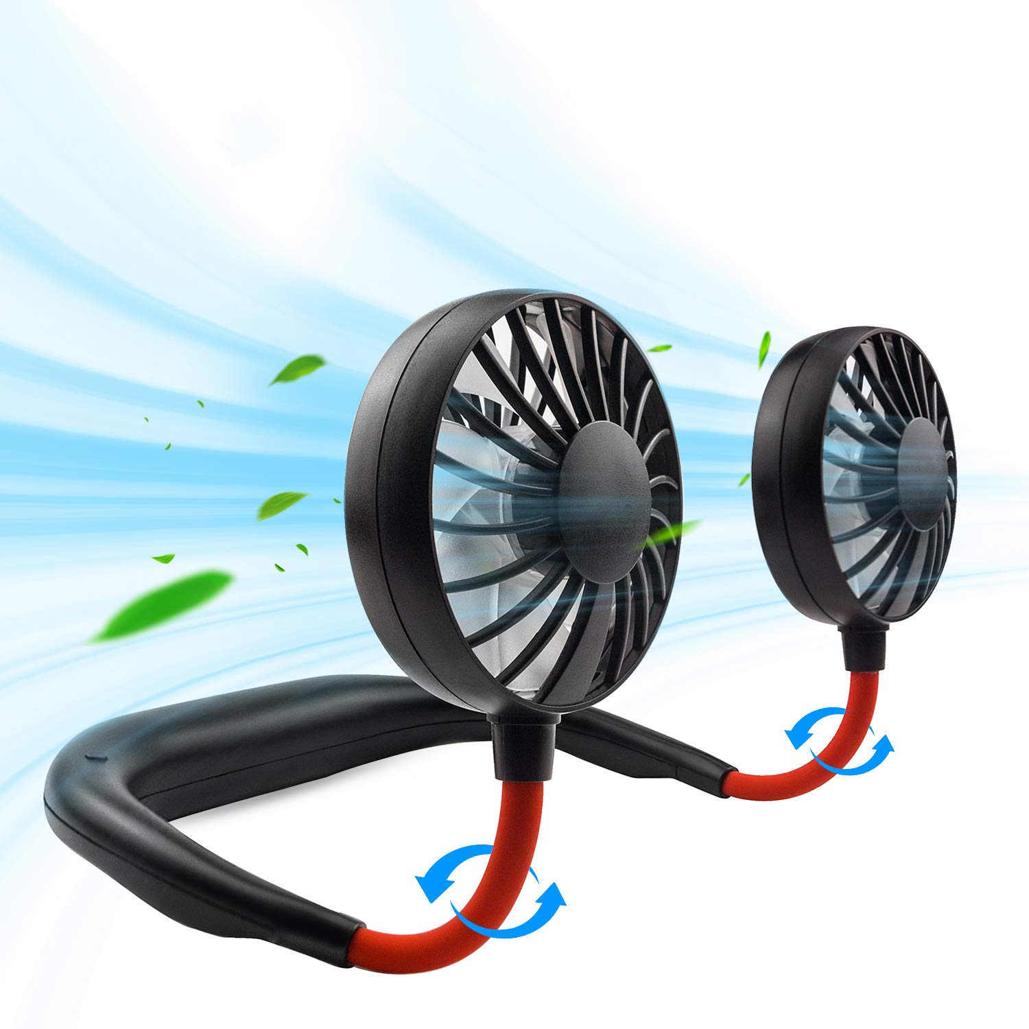 Portable Sports Neckband Dual Cooling Fan 360 Degree Adjustable USB Charging