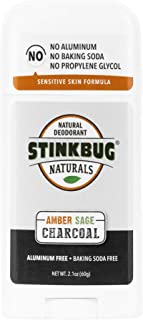 STINKBUG NATURALS Organic Charcoal Deodorant Stick - Natural Amber Sage with Activated Charcoal - 2.1 oz (Ounce) for Women/Men / Children