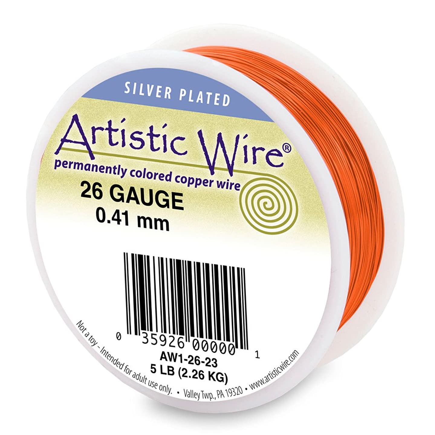 Artistic Wire 26-Gauge Silver Plated Tangerine Wire, 1/4-Pound