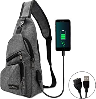 AMJ Sling Bag Shoulder Backpack Chest Bags Crossbody Daypack with USB Cable for Hiking Camping Outdoor Trip Women Men